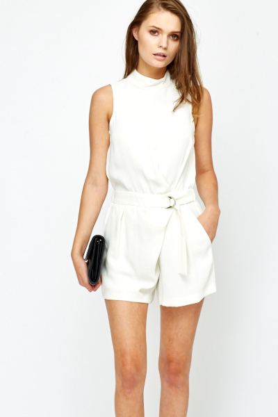 Cream Funnel Neck Playsuit