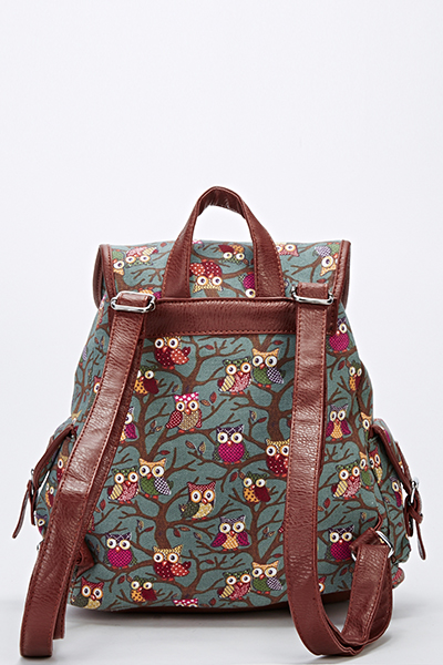 Dark Green Owl Backpack