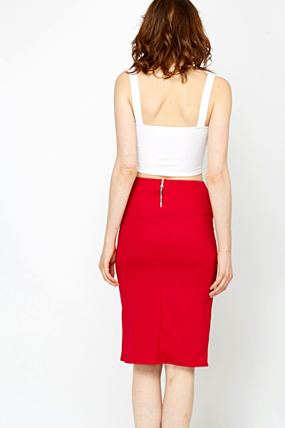 Red Jacquard Pencil Skirt