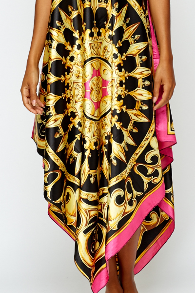Bold Ornate Scarf Print Beach Cover Up