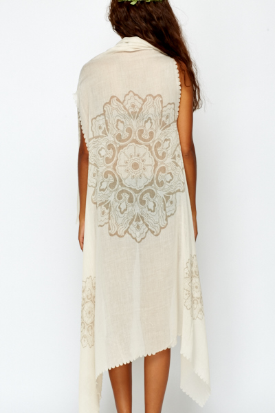 Laser Cut Cream Beach Cover Up