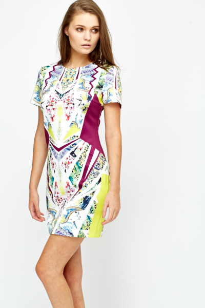 Printed Geo Scuba Bodycon Dress
