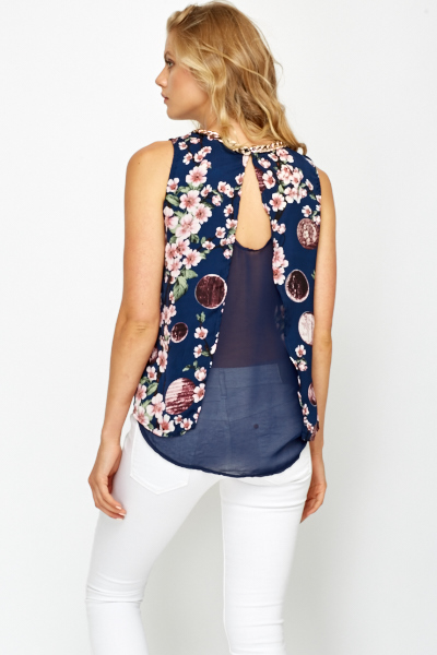 Chain Trim Blossom Print Top