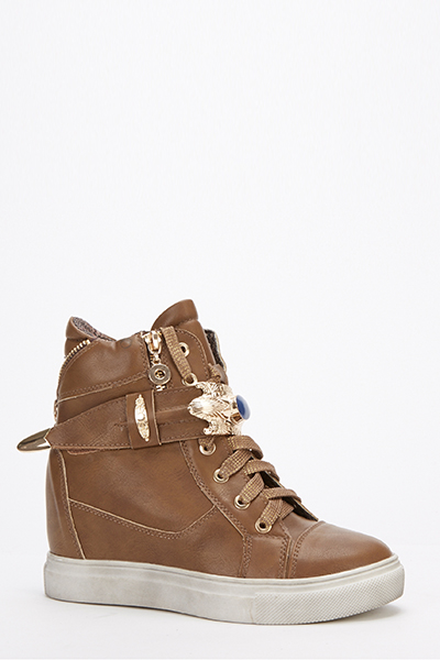 Faux Leather Wedge Trainers - Just $6