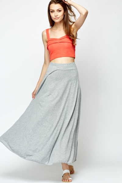 Grey Pleated Maxi Skirt - Just £5