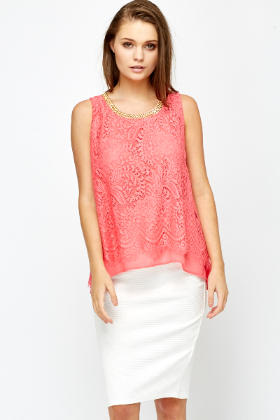 Chain Neck Lace Overlay Top