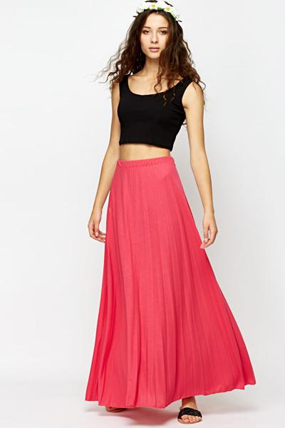 Fuchsia Pleated Maxi Skirt - Just £5
