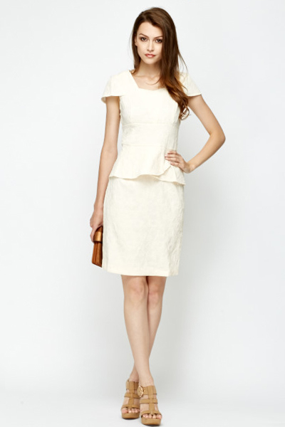 High Waist Cap Sleeve Jacquard Dress