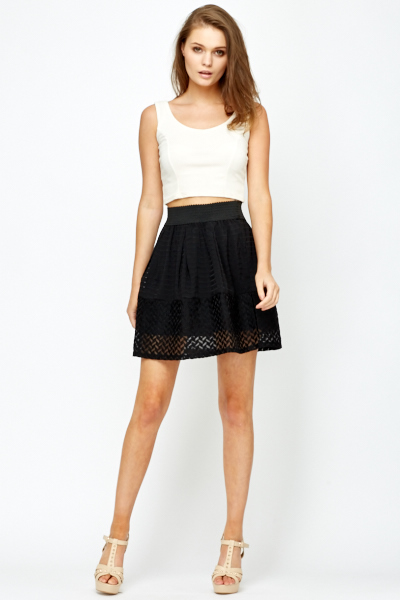 High Waist Mesh Skater Skirt - Just £5