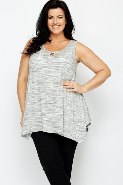 Keyhole Neck Speckled Top