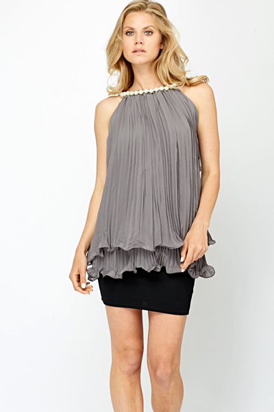 Pearl Embellished Neck Pleated Blouse