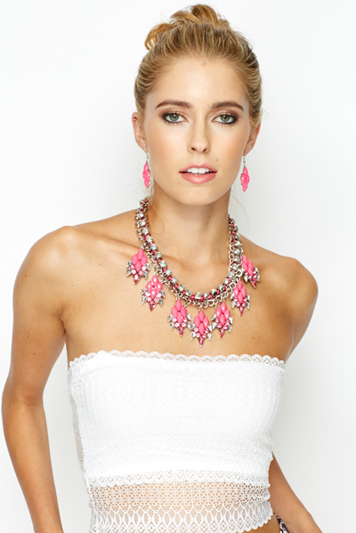 Coloured Diamante Chunky Necklace And Matching Earrings Set