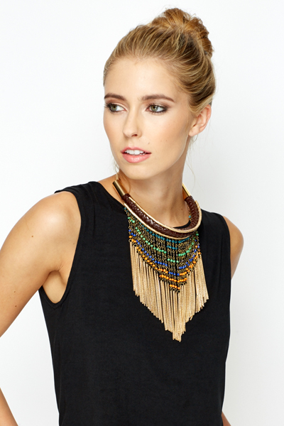 Plaited Gold Trim Beaded Necklace