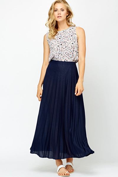 Pleated Navy Maxi Skirt Just 163 5