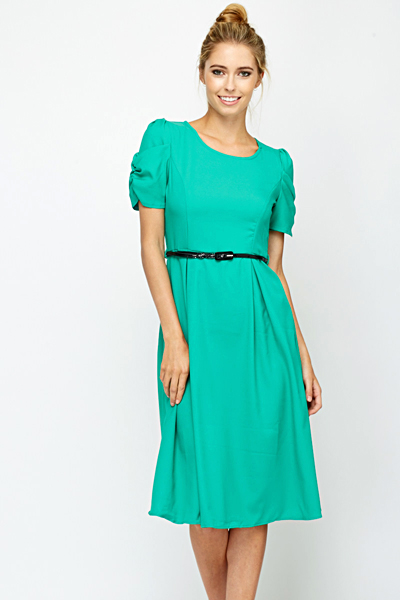 Ruched Sleeve Belted Green Dress