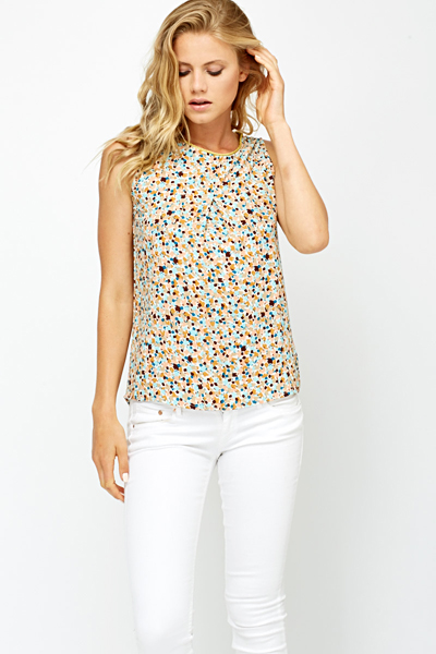 Abstract Print Gold Trim Neck Shell Top