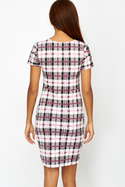 Contrast Grid Check Midi Dress
