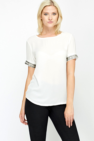 Sequin Embellished Trim White Top