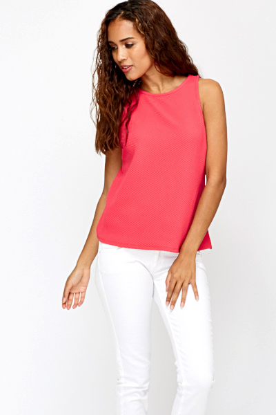 Sleeveless Curve Hem Top