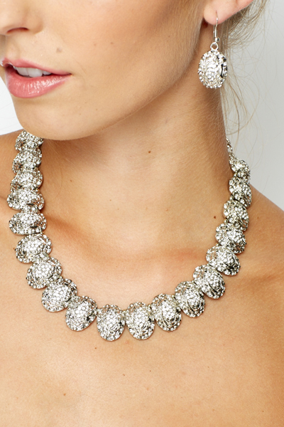 Diamante Design Necklace With Matching Earring Set