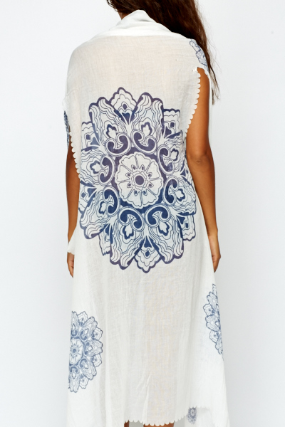 Laser Cut White Beach Cover Up