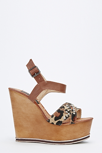 abbc1f8cd31 Leopard Studded Wedge Sandals - Just £5