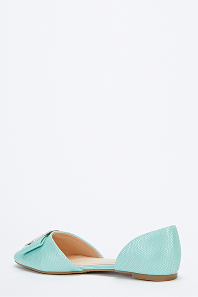 Front Bow Textured Court Shoes