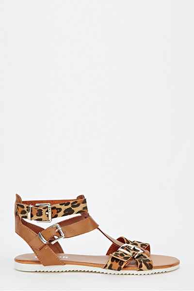Leopard Strappy Sandals - Just $6
