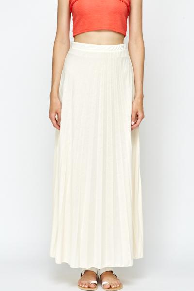 083804a00 Pleated Cream Maxi Skirt - Just £5