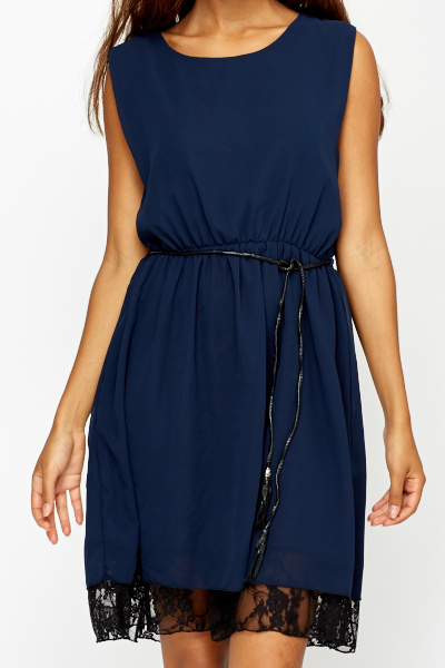 Lace Trim Navy Dress