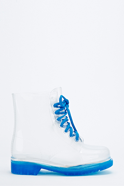 Blue Transparent Jelly Wellie Boots