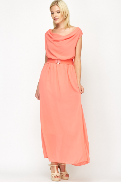 Coral Scoop Neck Belted Maxi Dress