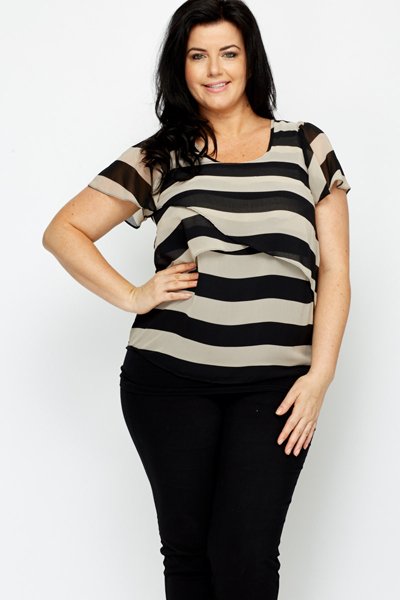 Frill Sleeve Striped Top