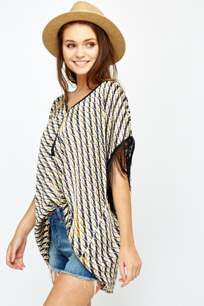 Fringed Oversized Top