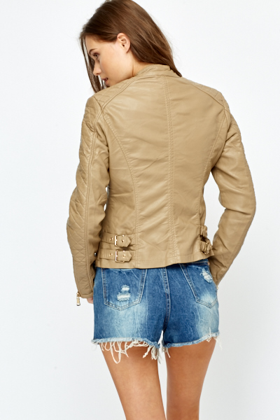 Quilted Sleeve PU Jacket