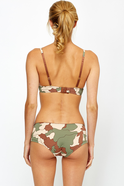 Camouflage Bra And Brief Set