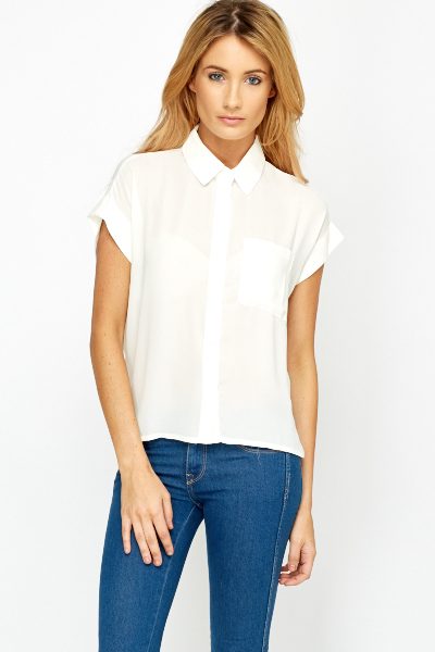 7869fcc8a7 Cream Cropped Button Up Blouse - Just £5