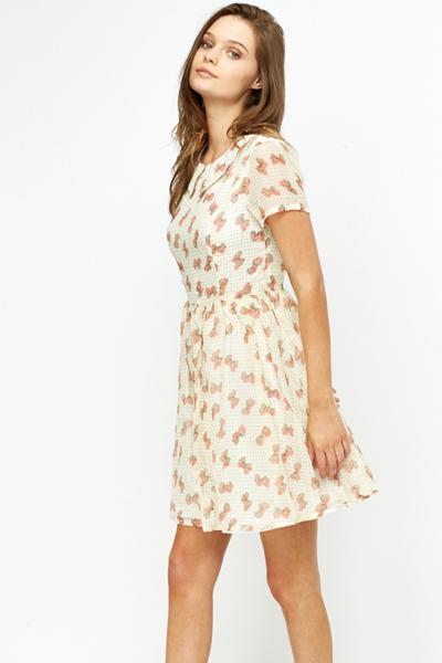 Bow Print Cream Skater Dress