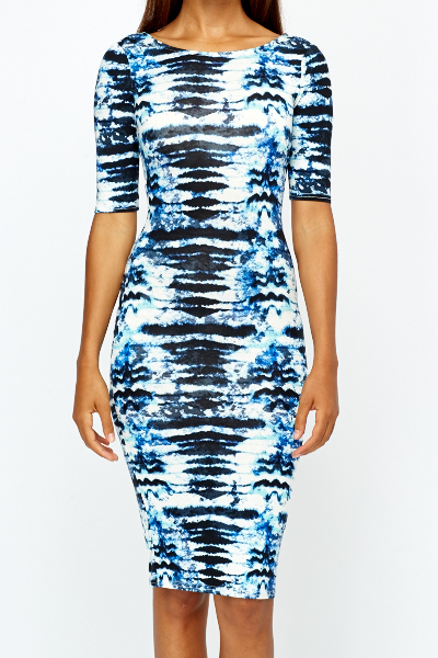 Blue Ink Blot Bodycon Dress