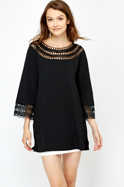 Crochet Neck Tunic Dress