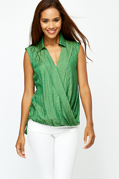Drape Front Green Blouse