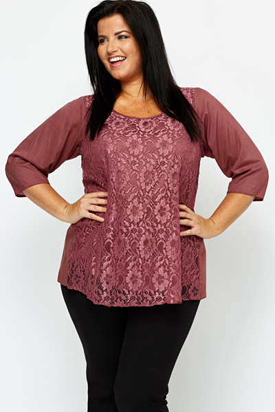 Lace Overlay Magenta Top