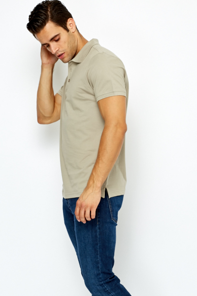 Short Sleeves Silver Polo T-Shirt