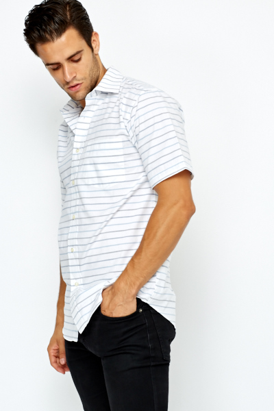 White Multi Striped Cotton Shirt