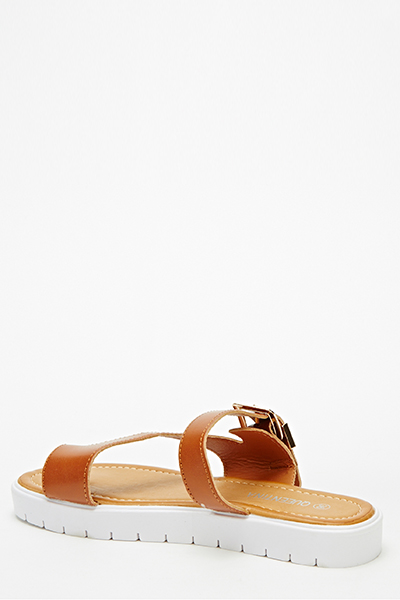 Track Sole Buckle Strap Sandals