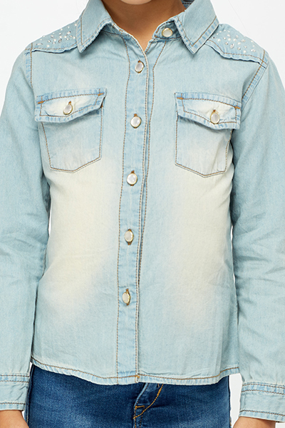 Encrusted Shoulder Denim Shirt