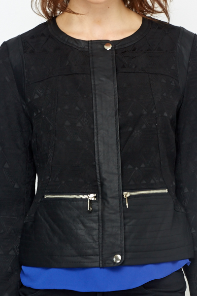 Faux Leather Insert Jacket