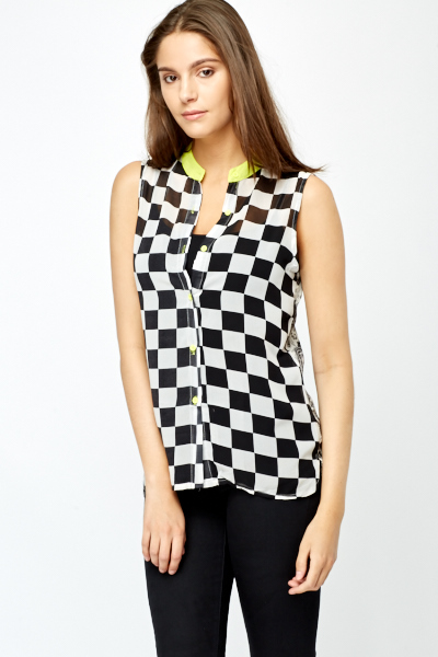 Paisley Back Racer Check Contrast Blouse