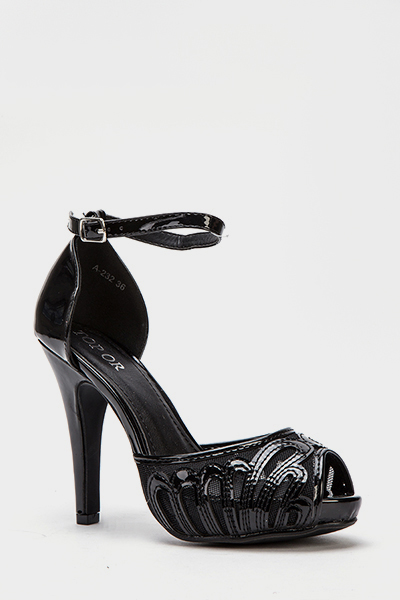 PVC Mesh Front Heeled Sandals