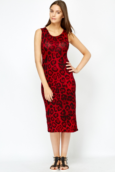 Red Leopard Print Midi Dress - Just £5